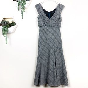 Marc Jacobs gray and blue plaid wool evening dress